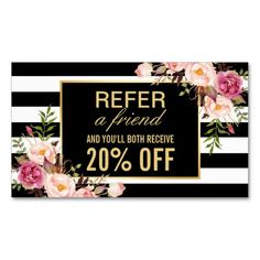 Referral Card Vintage Gold Floral Beauty Salon Double-Sided Standard Business Cards (Pack Of 100)