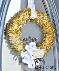 Tinsel New Year's Wreath.