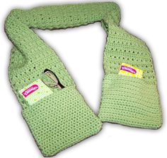 X Stitch Scarf with pockets. This is a great project for a beginner or a more experienced crocheter. It uses only a couple of easy stitches, a single crochet and double crochet. It works up quickly and makes a great gift. Tutorial  ༺✿Teresa Restegui http://www.pinterest.com/teretegui/✿༻