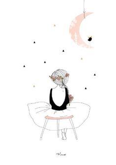 Une fille regardant cette belle lune.... Elle est jolie non ? Et bas pourquoi pas la retravailler à votre image ! En la dessinant......