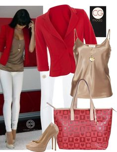 Red blazer nude and white for work