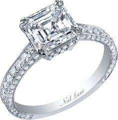 Neil Lane classic asscher cut diamond ring set in platinum