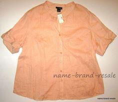 LANE BRYANT NWT LINEN Blend Shirt Womens PLUS 22 24 3X Peach Button Down NEW #LaneBryant #ButtonDownShirt #Casual