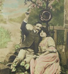 French Vintage Unused Postcard - Romantic Couple Under a Tree by ChicEtChoc on Etsy