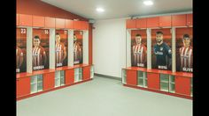 The home dressing room at the Vicente Calderón Stadium