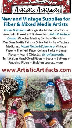Artistic Artifacts specializes in Creative Finds for Creative Minds, offering new and vintage supplies for fiber and mixed media artists. My Art Studio, Mixed Media Artists, Artistic Photography, Fabric Art, Vintage Paper, Surface Design, Hand Stitching, Stencils, Fiber