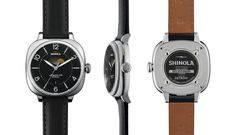 Shinola 'The Gomelsky Moon Phase Leather Strap Watch Black Face, 36mm
