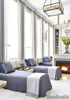 Missing a guest bedroom in his New York apartment, Amir Khamneipur created a pair of six-foot-long banquettes that pivot to become twin beds. Upholstered in a Perennials outdoor fabric, they have built-in drawers for stashing luggage. Click through for more stylish bedroom decorating ideas.
