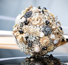black and gold wedding brooch bouquet (by lillybuds)
