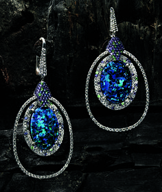 MARTIN KATZ  Exclusively ours. Double-frame earrings of 18-karat white gold, diamonds, tsavorites, blue sapphires and amethysts with Australian black opal center. $79,000.
