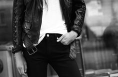 Black leather jackets.