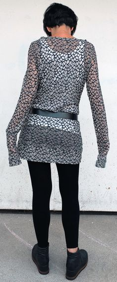 Top in Tulle Maglietta Trasparente Maglia Lunga di atelierPop