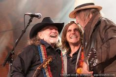 Willie and Lukas Nelson with Neil Young at Farm Aid