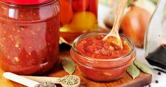 Photo about Canning Marinara sauce, tomato preserves, copy space for your text. Canning Marinara Sauce, Salsa Marinara, Tel Aviv, Basic Pasta Sauce, Salsa Italiana, Healthy Foods To Eat, Healthy Recipes, Preserving Tomatoes, Roasted Red Pepper Dip