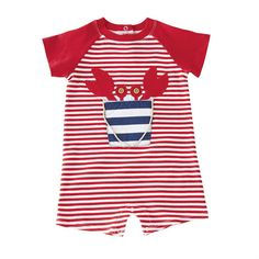 Printed interlock one-piece features crab in sand pail applique with rope details and wood button eyes. Inner leg snap closure.#MudPieGift