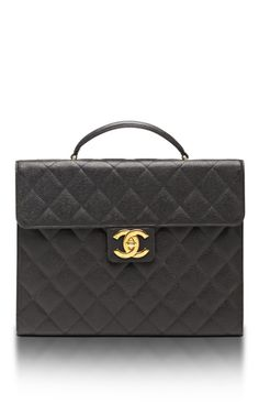 Vintage Chanel Black Caviar Briefcase by What Goes Around Comes Around for Preorder on Moda Operandi