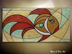 Resumen original textura pescados del oro pintura por NataSgallery