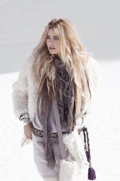 winter boho hippie white fur jacket