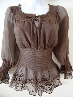CEAES anthropologie  Party&Casual&Career 3/4 LS Ruffle Embroider S Lace up !! #Ceaes #Blouse #Career