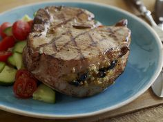 Stuffed Grilled Pork Chops from FoodNetwork.com