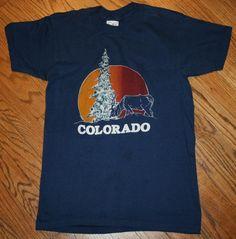 Vintage 1981 Colorado T-Shirt Men's Medium by Sneakers/Pine tree-Deer-rockies #Sneakers #GraphicTee