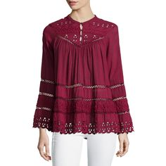 Love Sam Long-Sleeve Eyelet-Embroidered Top ($268) ❤ liked on Polyvore featuring tops, sangria, sweater pullover, scalloped top, long sleeve pullover, eyelet top и love sam tops