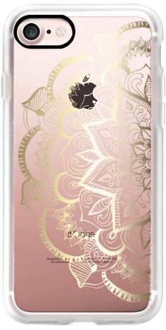 Casetify iPhone 7 Classic Grip Case - Faux Gold Feather Mandala on Clear by Tangerine- Tane #Casetify