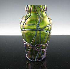 LOETZ - Pallme Konig GREEN Threaded ART GLASS VASE - Iridescent