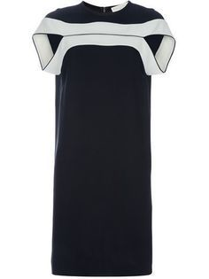 Black fitted dress from Stella McCartney featuring cap sleeves, round neck and cream horizontal stripes above the bust. Fitted Black Dress, Striped Dress, White Dress, Stella Mccartney, Day Dresses, Dresses For Work, Moda Casual, Fashion Details, Fashion Design