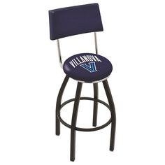 Chrome & Black Villanova Wildcats Swivel Bar Stool w/ Back