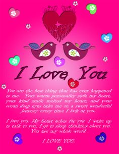 A beautiful I love you ecard that you can send to your special person.