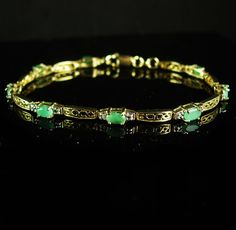 Stunning vintage genuine Emerald Bracelet that is even prettier in person. Need a great stocking stuffer or birthday gift? And remember, a personal well thought out gift shows you took the time to care about that special person in your life. Our items are classic, sometimes unusual and vintage and sometimes a little bizarre. Whether it is a memory from their past or something that reminds you of how special they are, purchasing from us is a unique idea that you can't get from a store every…
