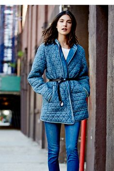 NEW Free People light denim Chambray Quilted Jacket Coat gray jersey lining S Chambray, Jeans Denim, Couture, Quilted Jacket, Clothes For Sale, Mantel, What To Wear, Jackets For Women, Blazers