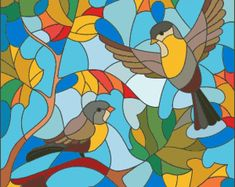 Illustration in stained glass style on the theme of autumn, two Tits in the sky and maple leaves - buy this stock vector on Shutterstock & find other images. Glass Painting Designs, Stained Glass Designs, Stained Glass Patterns, Paint Designs, Stained Glass Quilt, Stained Glass Windows, Vogel Illustration, Glas Art, Easy Drawings