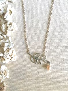 Leaf Lariat Necklace Silver Branch Necklace Custom by LaniMakana $19.95