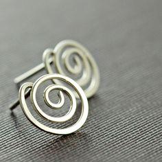 Swirl sterling silver post earrings from aubepine