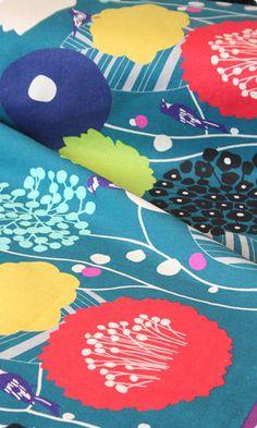 Echino Wildflower in Teal by Etsuko Furuya Cotton Linen