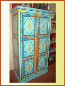 Hand Painted Wardrobe - Indian Painted Furniture