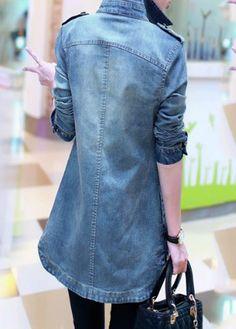 Long Sleeve Button Closure Turndown Collar Denim Shirt