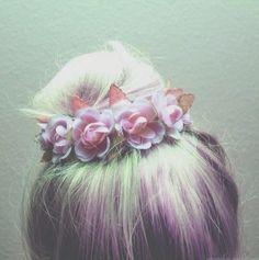 Pastel hair and flower bun