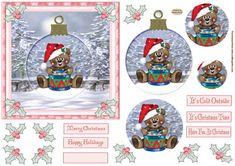 Christmas Bear Topper on Craftsuprint designed by Sandra Carlse - This is a lovely 'Christmassy' Pyramid Topper. There are 4 pyramid layers for you to cut out