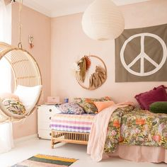 One day you wake up and your baby is a teen. How the hell did that happen? Time for a fresh new room to match their new attitude 😜 Teen Bedding, Boho Bedding, Teen Bedroom Designs, Girls Bedroom, Bedroom Ideas, Bedrooms, Boho Bed Frame, Jugendschlafzimmer Designs, Bed Design