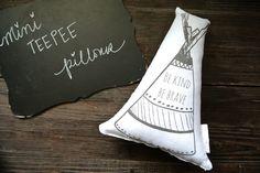 Personalized Teepee Pillow, Mini Teepee Pillow, Tepee Pillow, Nursery Pillow, Tribal Decor, Be Brave Teepee Pillow, Shelf Decor, Linen by DecoratedRoom on Etsy