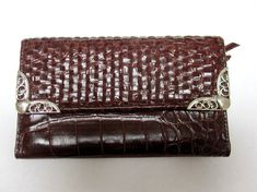 Western Brown Wallet Basket Weave Billfold by sweetie2sweetie, $8.99