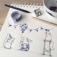 清新唯美的森林小动物及花草手绘插画