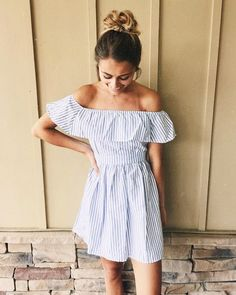blue and white striped off the shoulder dress with simple messy bun. summer outfit.