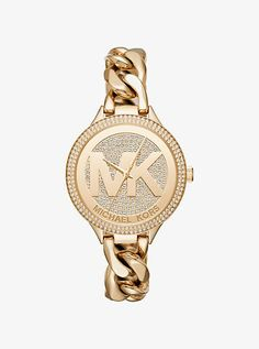 Slim Runway Pave Gold-Tone Chain-Link Watch