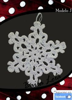 copito de nieve hecho en ganchillo Chandelier, Ceiling Lights, Jewelry, Snowflakes, Embroidery Stitches, Christmas Ornaments, Stitching, So Done, Crocheting