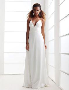 Sheath/Column Spaghetti Straps V-neck Sweep/Brush Train Chiffon Wedding Dress - USD $ 89.69