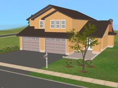 Mod The Sims - 25 Maple Street -2 Story Family Home *Based On Real Floor Plan*.  3BR, 2.5BA, attached double garage, open floor plan.  Lot Size: 2x2.  Lot Price: $31,044 (UF).
